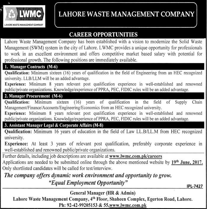 Lahore Waste Management Company Lwmc Jobs 2017 Eligibility Criteria
